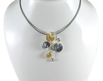 Hypoallergenic necklace.Statement necklace.silver & gold plated.lightweight necklace.Unique necklace.Gift for wife.