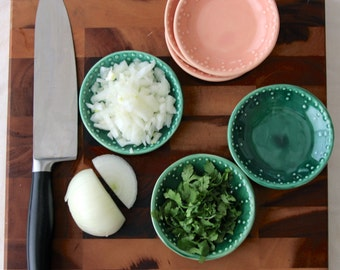 Stoneware Prep Bowls - Set of 3 Handmade  Mini Dishes - Custom Color Choice - Rustic Home Decor - MADE TO ORDER