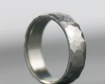 faceted wedding band - men's wedding band, women's wedding band, gold wedding band, men's wedding ring, wedding ring set