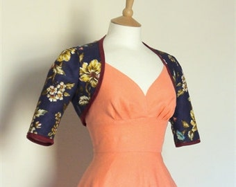 UK Size 10 - Dark Blue Wild Rose Print Bolero Jacket - Made by Dig For Victory