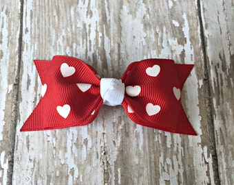 Valentine Toddler Bow Red Heart Tuxedo Bow Red Heart Toddler Hair Bow 3 Inch Alligator Clip Baby Hairbow Tuxedo Bow 3 Inch Valentine Bow