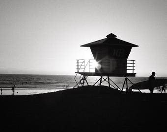 California Photography, Huntington Beach, Black and White Photography, Sunset Picture, Black & White Photo - Limited Edition Photo Print