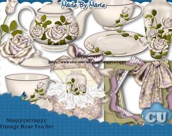 Tea Set, Digital Scrap Kits, Vintage Tea for Two Scrap Kit, CU OK