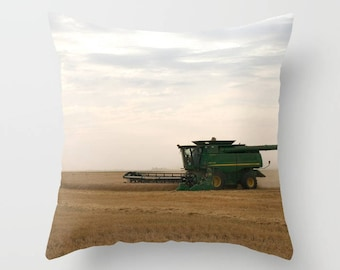Combine Harvest Pillow Cover, Rustic Country Wheat Throw Cushion Case, Earthy Chic Style, Gift for Farmer, Botanical Art Decor