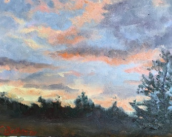 Sunset on the Plains, Twilight, Prairie Painting, Wall Art, Oil Original, Orange Sunset Painting, Small Painting, 7 X 9 Inches