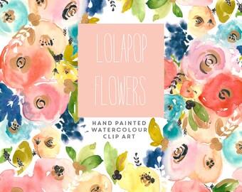 Watercolour Flower Hand Painted Clip Art - Lolapop Flowers