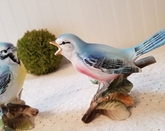 2 Vintage Bird Figurines, Bluebird and Blue Jay, Ceramic Glass. Chippy Cottage Charm for your Spring Farmhouse Decor