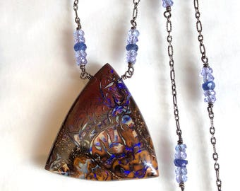 Boulder Opal Necklace, Koroit Opal Necklace, Blue Sapphire Necklace, Collectors Opal - Sterling Silver