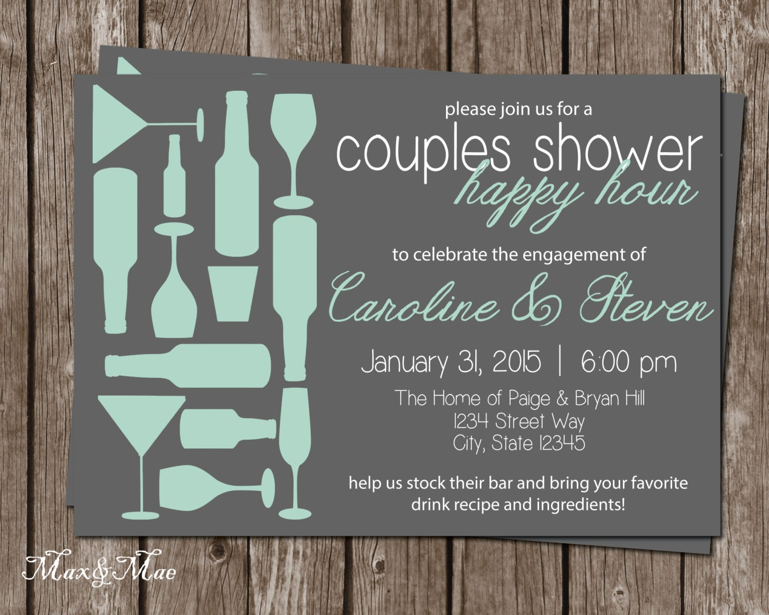Happy Hour Bridal Invitation Stock the Bar Wedding Shower