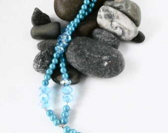 Y Necklace - Turquoise Blue Necklace - Repurposed Jewelry - Pearl Beads