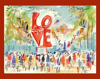 Philadelphia Love Park Canvas Art By Joe Barker (20x27).