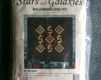 Stars and Galaxies Wall Quilt Kit Wall Hanging Quilt Handmade Quilt  h4