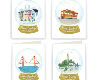 HOLSFBOX: San Francisco Snow Globes - Box of 8 Assorted Holiday Cards