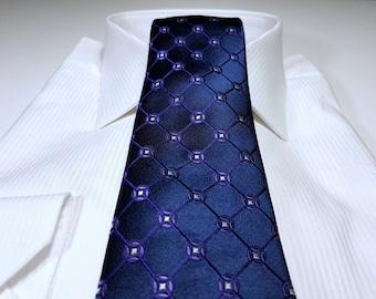Silk Tie in Regency Purple White and Navy