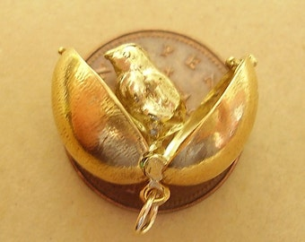 Gold EGG  charm charms 9ct Gold Hallmarked (opens) Easter