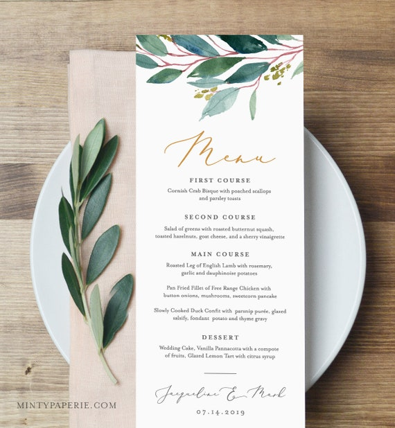 Menu Template, Instant Download, 100% Editable, Wedding Dinner Menu Printable, Greenery & Gold, Boho, Rustic, DIY, Templett #044-123WM