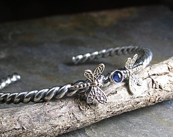 Sterling silver dragonfly cuff bracelet twist wire gemstone iolite - Dragonfly Dance