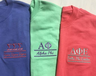 Greek Sorority Embroidered T Shirt