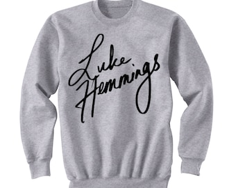 Hemmings Sweatshirt, Luke Hemmings 5SOS Sweater, 5 Seconds of Summer Band Shirt, Crew Neck Sweatshirt, Fangirl Shirt, Black Grey White