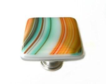 Southwestern Glass Knob. Decorative Glass Cabinet Hardware in Custom Sizes