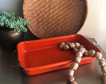 vintage orange enamel bake pan rectangular with removable handle