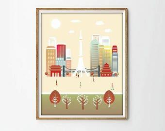 Tokyo print, Japan print, poster Tokyo, wall art print, wall art decor, nursery, Kanto, printable, city print, art print,4 SIZES INCLUDED