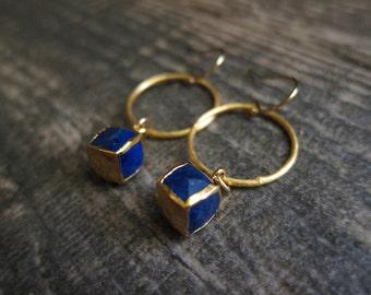 Womens Blue Earrings,Lapis Earrings,Gold Hoop Earrings,Lapis Hoop Earrings,Lapis Dangle Earrings,Blue Stone Earrings,Infinity Hoops,Cube