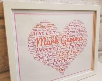 Personalised Love heart word art print