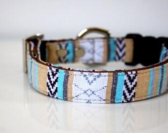 BOHO woven guatemalan Dog Collar - beige, turquoise blue - Silver