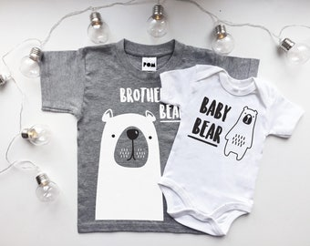 Brother Bear T-shirt & Baby Bear Bodysuit Cute Matching Set - POM CLOTHING