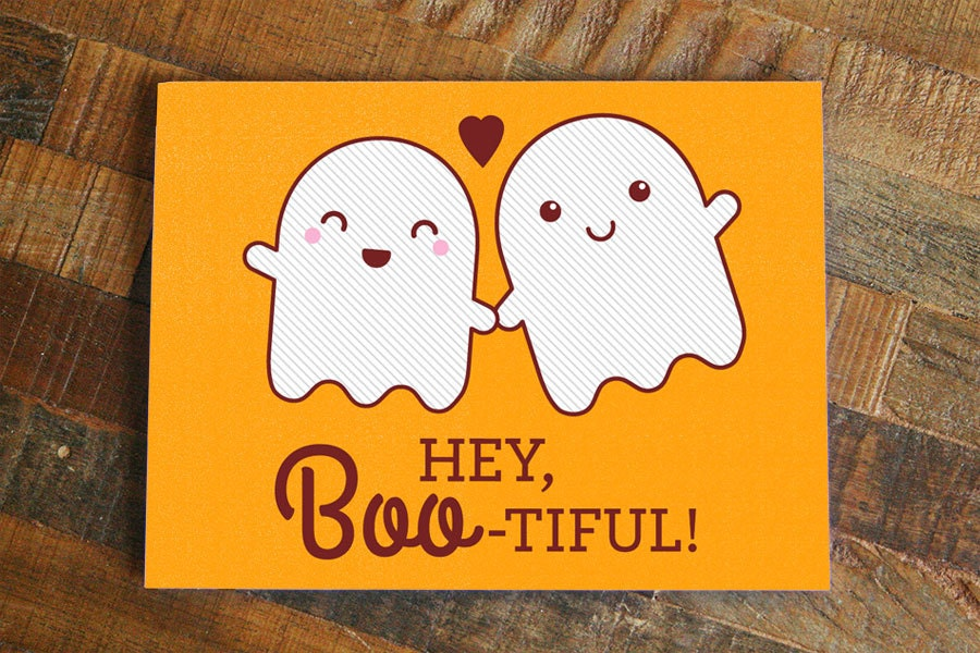 Funny Halloween Love Card Hey Boo-tiful