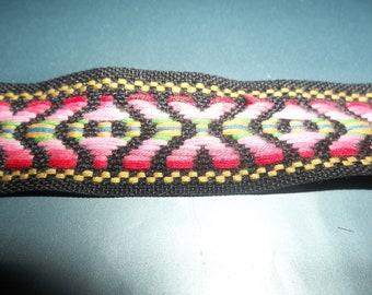 "Vintage Boho Tapestry Jacquard Ribbon Trim Tribal Guitar Strap Headband Black Pink Green 6 Yards x 1"" Wide"