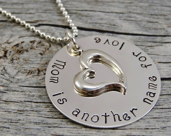 Hand Stamped Jewelry - Personalized Jewelry - Mom Necklace - Mom is another name for love - Sterling Silver Necklace - Heart Charm