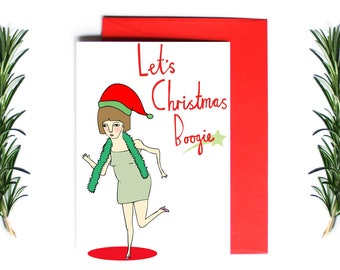 Christmas Card - Let's Christmas Boogie | Greeting Card | Holiday Card
