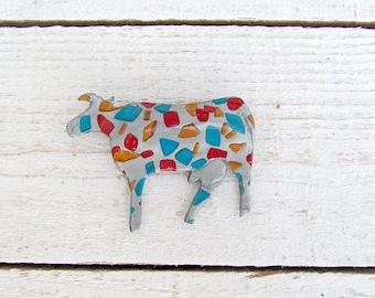 Mosaic Cow Polimer Clay Broosh