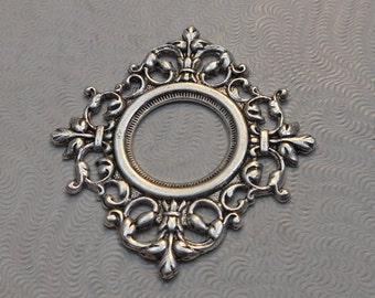 LuxeOrnaments Oxidized Sterling Silver Plated Brass Frame Pendant 14mm Setting 37x34mm (1 pc) F-A14045-S