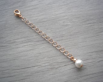 "Pearl Extension Chain for a Necklace Bracelet or Anklet Silver Gold or Rose Gold Jewelry Extender 2"" chain 2 inches Enlarger, EX1B"