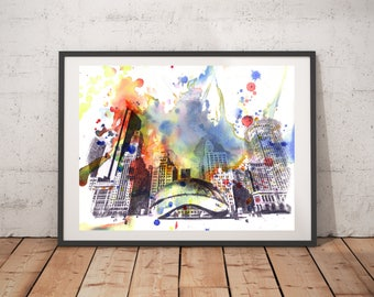 Chicago Skyline Art Print From Original Watercolor Painting Chicago Art Cityscape 13x19 Wall Art