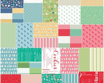 "SALE Fabric Riley Blake Cozy Christmas Precut 5"" Stacker Charm Pack Fabric Quilting Squares Lori Holt 5-5360-42 SQ78"