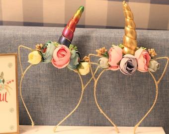 2 Colors/ Unicorn Floral Metal Headband /Unicorn Hair Clip / Christmas Birthday Photo Girl Wedding Bridal/ Adult and Child