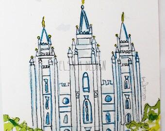 Salt Lake LDS Temple - Watercolor Temple 5x7 print by Elsa Ferre