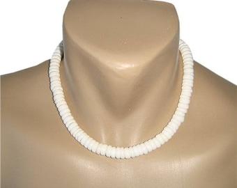 Hawaiian Jewelry Handmade Large Puka Shells Choker Necklace with Koa Wood Bead Accents from Maui, Hawaii