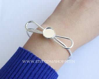 5pcs bow-knot 12mm Adjustable Brass Bracelet Setting Base, Bracelet Supply, Blank Bracelet Cuff,Bezel Cuff,Bezel Bracelet Bangle
