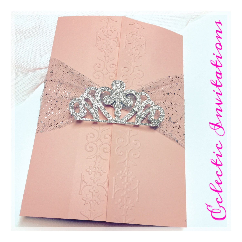 50 Pink Princess Invitations Quincea±era Sweet 16 birthday