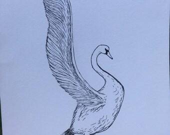 Swan Ink Drawing, Swan Artwork, Swan Decor, Swan Art, Original Artwork, Swan