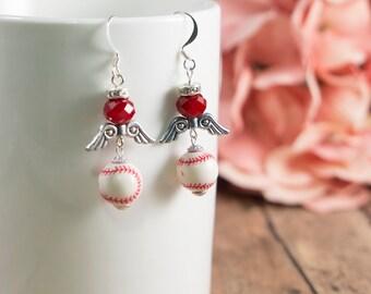 Baseball, Angels, Dangle Earrings - Red Crystal Bead
