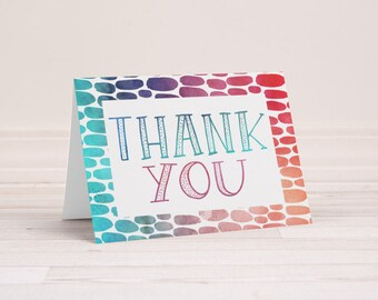 Unique Thank You Notes - Set of 6 Cards with Envelopes - Watercolor Thank You Cards - Blank Inside - Folding Note Cards - Mentor Gift