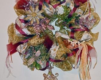 Christmas Wreath, Christmas Deco Mesh Wreath, Holiday Wreath, Door Decoration, Victorian Memories, Ready to Ship!
