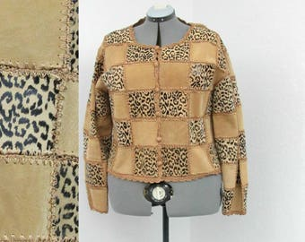 Vintage 90s Plus Size Tan Suede Jacket, Leather Patchwork Jacket, Leopard Print Jacket, Leather Jacket, Crochet Jacket, Cropped Jacket