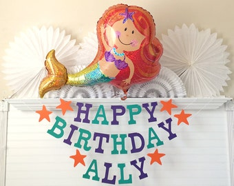 Mermaid Birthday Party Banner - 5 inch Letters - Mermaid Party Decorations Custom Birthday Banner Mermaid Balloon Happy Birthday Starfish